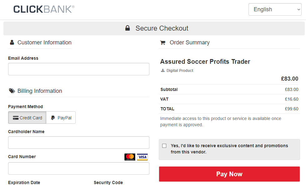 Assured Soccer Profit Cost