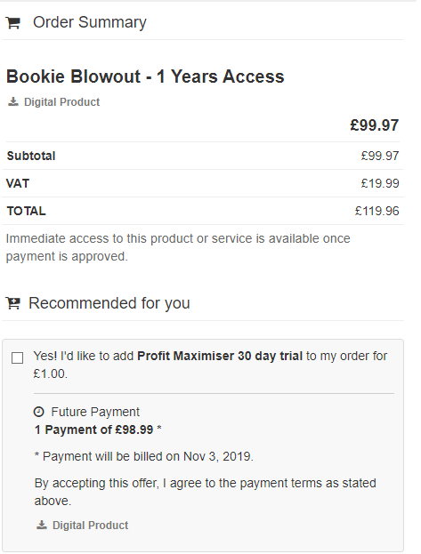 Bookie Blowout Review - Prices