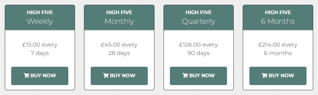 High Five Racing Investments Review Prices