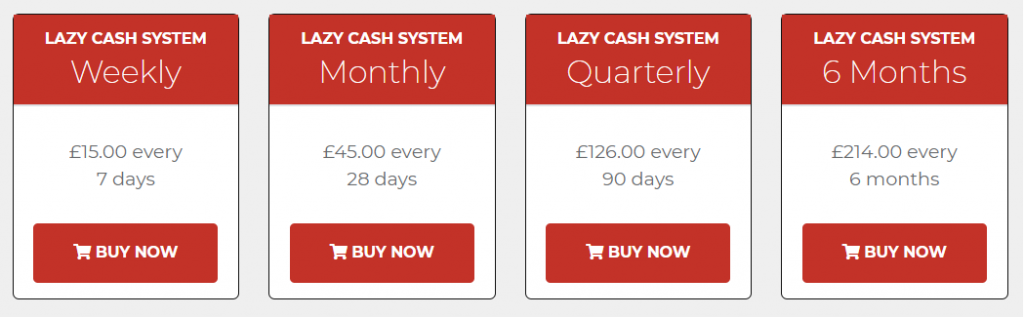 Lazy Cash System Review Prices