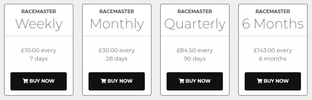 Racemaster Review Prices