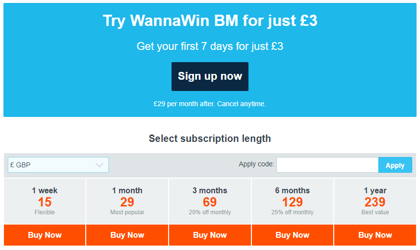 WannaWin BM Review Prices